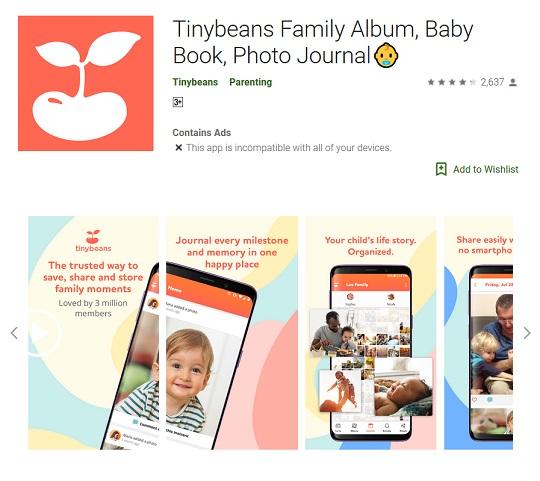 لوبیا کوچولو tinybeans نرم افزار مفید برای پدر و مادرها